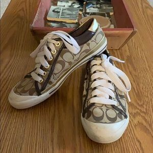 Gold/Brown Women's Coach Brand Sneakers